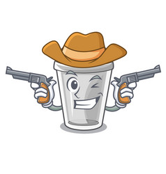 Cowboy plastic cup in the cartoon form vector