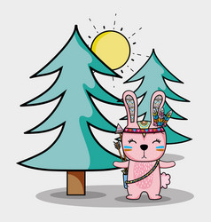 Cute rabbit tribal with feathers and pines vector