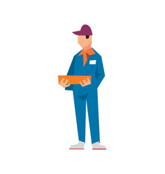 delivery man in work uniform in flat design vector image