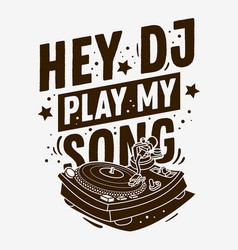 dj themed typographic tee print design with a vector image
