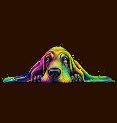 Dog wall sticker abstract basset hound vector