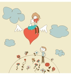 Doodle girl flies on the heart over a boy vector