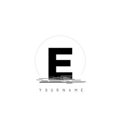 e black letter logo design with circular shape vector image