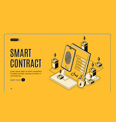 electronic contract isometric banner e-signature vector image