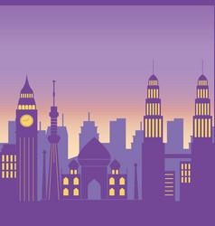 famous landmarks cityscape skyline architecture vector image
