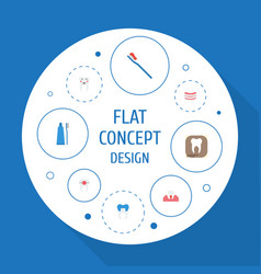 Flat icons brace artificial teeth radiology and vector