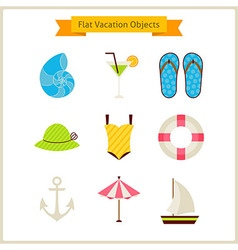 Flat Summer Vacation Objects Set vector