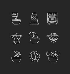 Food cooking instruction chalk white icons set vector