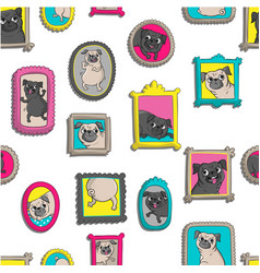 frames with portraits of pugs vector image