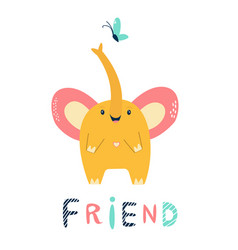 funny cute little jumping elephant vector image