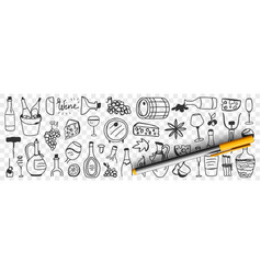 goods for wine making doodle set vector image
