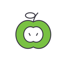 Green apple concept line icon editable vector
