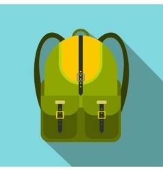 Green touristic backpack flat icon vector image