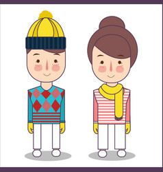 Happy children in winter clothes wearing hat and vector