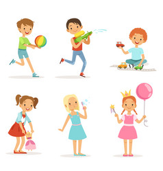 Happy children playing with funny toys on vector