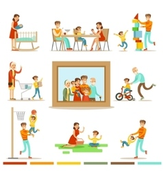 Happy Family Doing Things Together vector