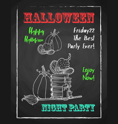 Happy halloween chalk poster for party textured vector