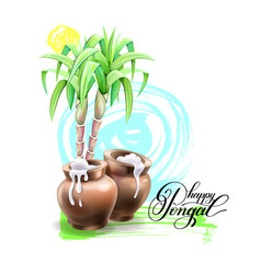 Happy pongal greeting card design to south indian vector