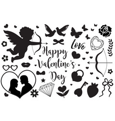 happy valentine s day set of icons stencil black vector image
