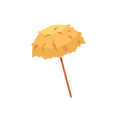 Hawaiian thatch tiki beach umbrella sunshade vector