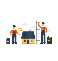 House painting workers refresh exterior vector image