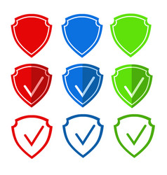 Icon of the shield symbolizes protection for vector