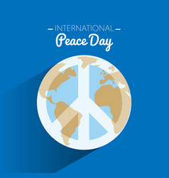 International peace day with symbol of peace on vector