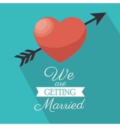invitation we are getting married heart shadow vector image