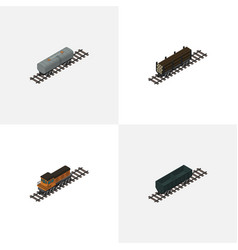 Isometric railway set of oil wagon lumber vector