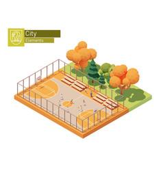 Isometric street basketball court vector