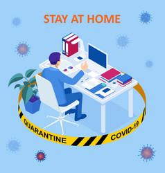 isometric work from home corona virus - staying vector image