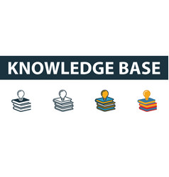 Knowledge base icon set premium symbol in vector