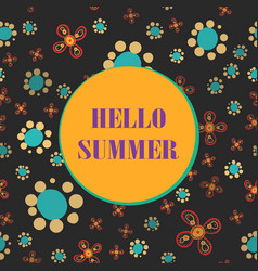 lettering hello summer on seamless background vector image