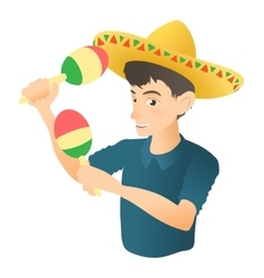 Man plays on maracas icon flat style vector