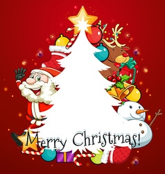 Merry Christmas card with Santa and tree vector