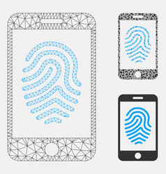 Mobile fingerprint authorization mesh wire vector