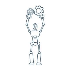 Modern robot futuristic mechanism thin line vector