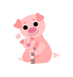 Mother pig and baby piglet cute animal family vector