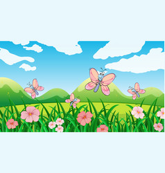 Nature scene background with butterflies in the vector