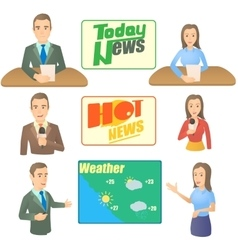 News presenter concept set cartoon style vector