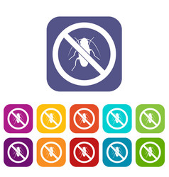 No cockroach sign icons set vector