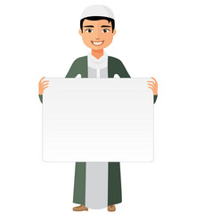 Oman arab businessman holding white blank vector