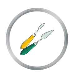 Painting knives icon in cartoon style isolated on vector