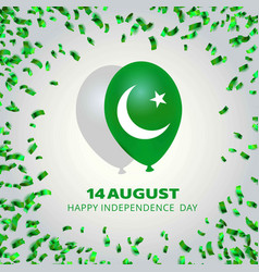 Pakistans flag balloons for independence day vector