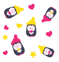 pattern with a penguin hearts and stars vector image