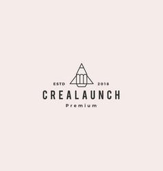 pencil rocket launch logo icon vector image