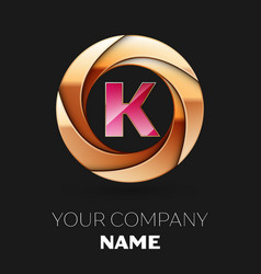 pink letter k logo symbol in golden circle shape vector image