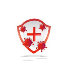 Protection health shield with corona virus design vector