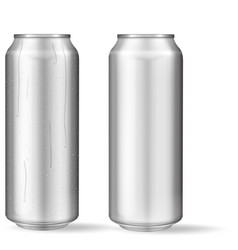 realistic aluminum can with water drops metallic vector image