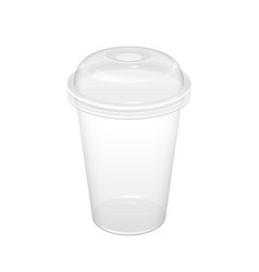 Realistic transparent disposable plastic cup vector